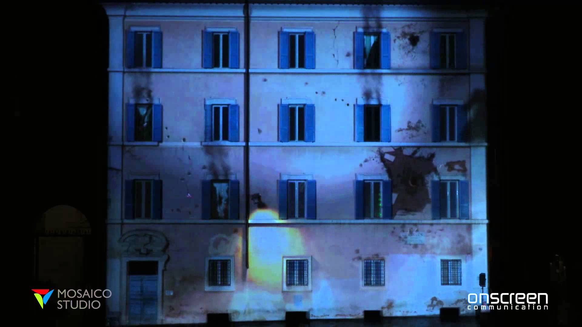 One of OnScreen projects in Piazza Santa Maria in Trastevere, Rome